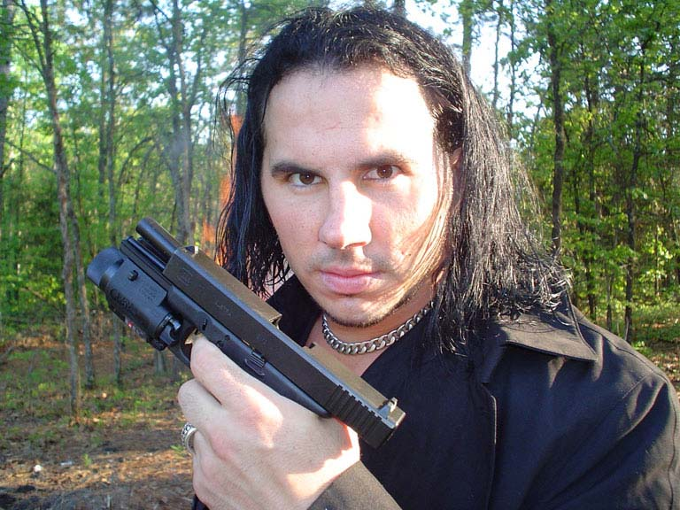 Matt Hardy with a gun